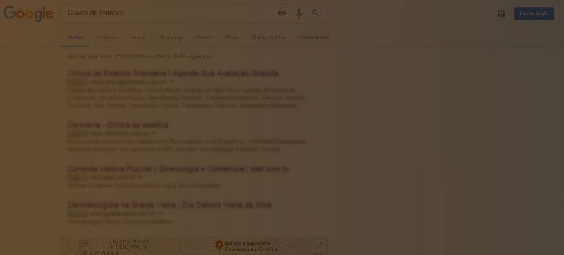clínica aparecer nas primeiras páginas do Google